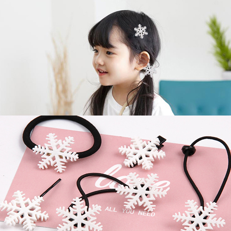 5pcs/lot Christmas Scrunchies Baby Snowflakes Barrettes Winter Hair Band Elastic Rubber Band For Girls Hair Accessories Ornament