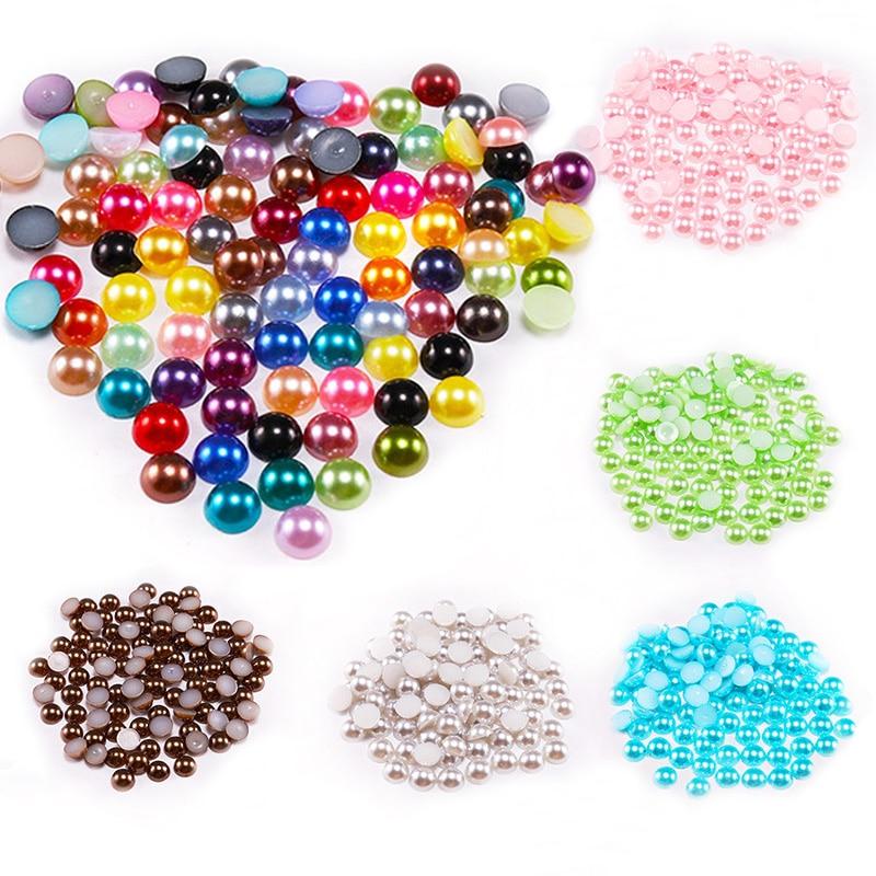2 3 4 5 6 8 10 12 14 MM Imitation Pearl Round Half Bead Bulk Wholesale Beads For Jewelry Making Women Nail Art DIY Accessories