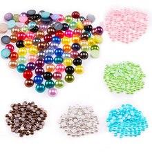 Demi-perles rondes Imitation perles pour fabrication de bijoux, Nail Art, bricolage, accessoires, vente en gros de 2 3 4 5 6 8 10 12 14 MM