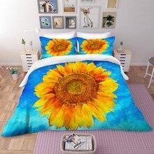 Sunflower Bedding Set Duvet Cover Set Flowers Printed Bedspread Kids Girls Floral Quilt Cover Pillowcase 2/3 Piece Dropshipping bedding set полутораспальный сайлид red flowers