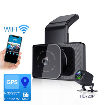 3 inch IPS Screen HD 1080P Car DVR Camera 150 Degree Dual Lens Night Vision Mobile Phone WIFI Connection GPS Driving Recorder image