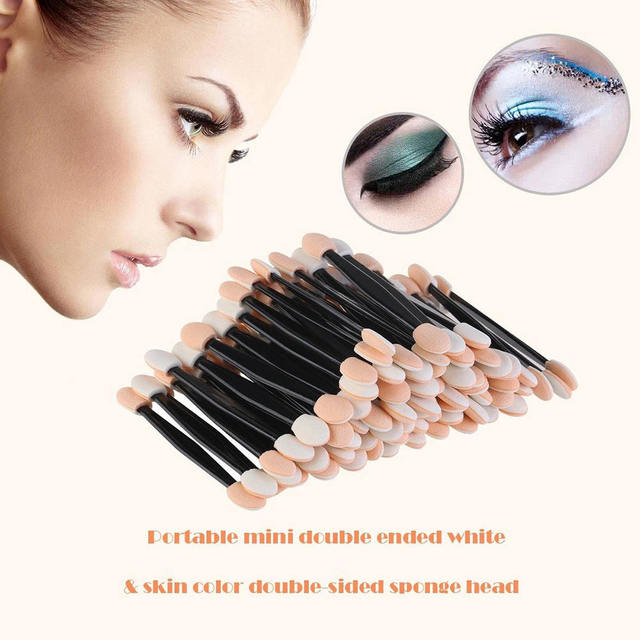 100 Pack Disposable Double Ended Sponge EyeShadow Brushes Oval Applicator Makeup Tools