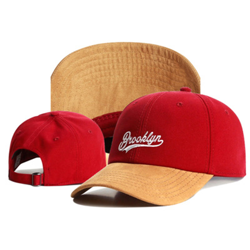 New Brand Dad Hat BROOKLYN Faux Suede Hip Hop Red Snapback Hat For Men Women Adult Outdoor Casual Sun Baseball Cap Bone