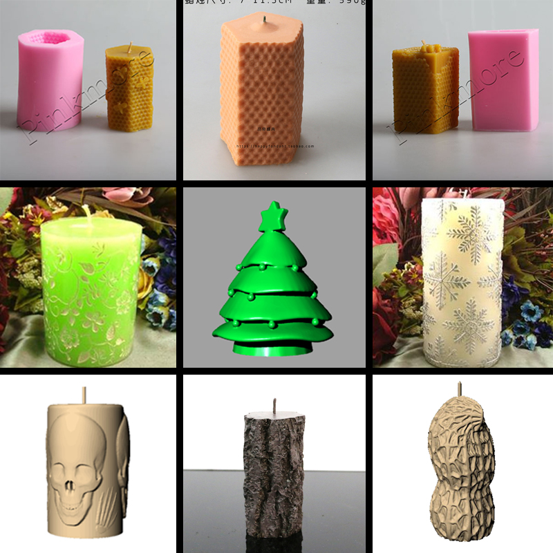 Square Round And Hexagon Honeycomb Shaped 3D Candle Mold Silicone Mold Form For Soap Clay Mold Salt Carving Mould