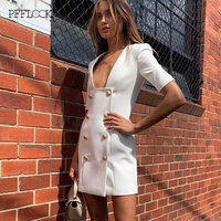 PFFLOOK 2019 Dresses Women Summer Office Lady Suit Dress Fashion Solid V neck Sexy Slim A line Double breasted Mini Vestidos