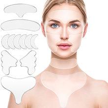 11Pcs Reutilizável Silicone Cara Adesivo de Remoção Do Enrugamento Levantamento Testa Pescoço Almofada Etiqueta Do Olho Anti Rugas Envelhecimento Da Pele Cuidados Patch