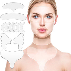 11Pcs Reusable Silicone Wrinkle Removal Sticker Face Forehead Neck Eye Sticker Pad Anti Wrinkle Aging Skin Lifting Care Patch