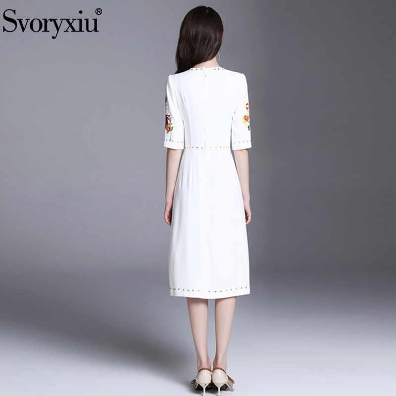 Svopryxiu יוקרה מסלול קיץ לבן שמלת נשים באיכות גבוהה חצי שרוול ואגלי פרח רקמת המפלגה Applique שמלות