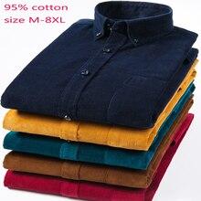 Camiseta de algodón puro de pana para hombre, camisa informal holgada de manga larga de talla grande M 7XL 8XL