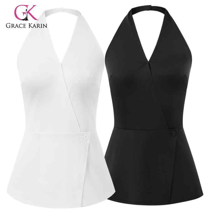 Grace Karin Fashion Vrouwen Wrap Front Tops Mouwloos Sling V-hals Halterneck Backless Sexy Lday Effen Kleur Camis Tops