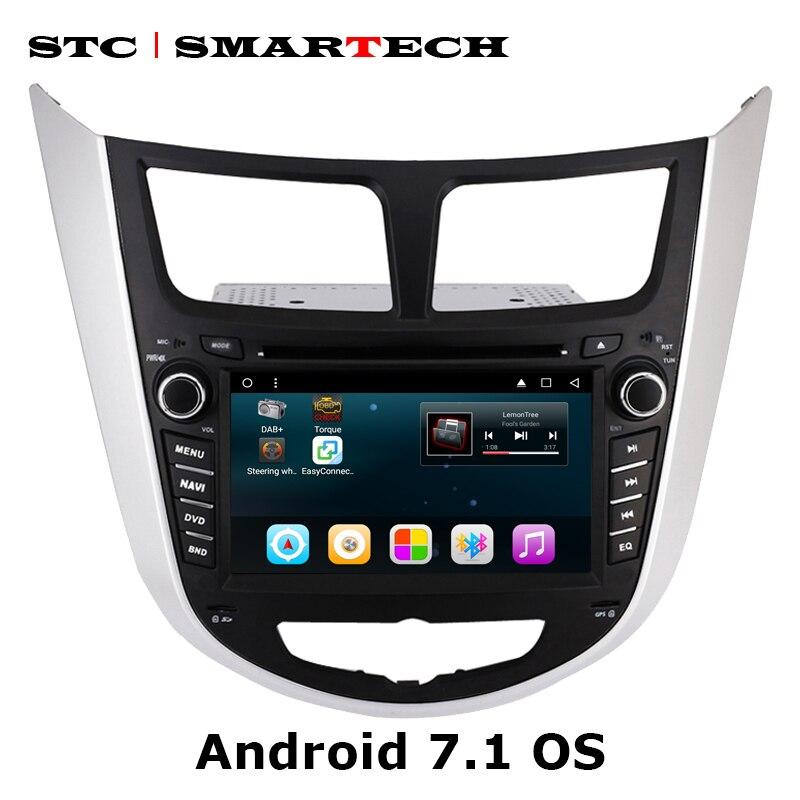 Автомобильный dvd плеер SMARTECH 2 Din Android 7,1 с GPS навигацией, Автомагнитола для Hyundai Solaris accent Verna i25, автомагнитола, головное устройство