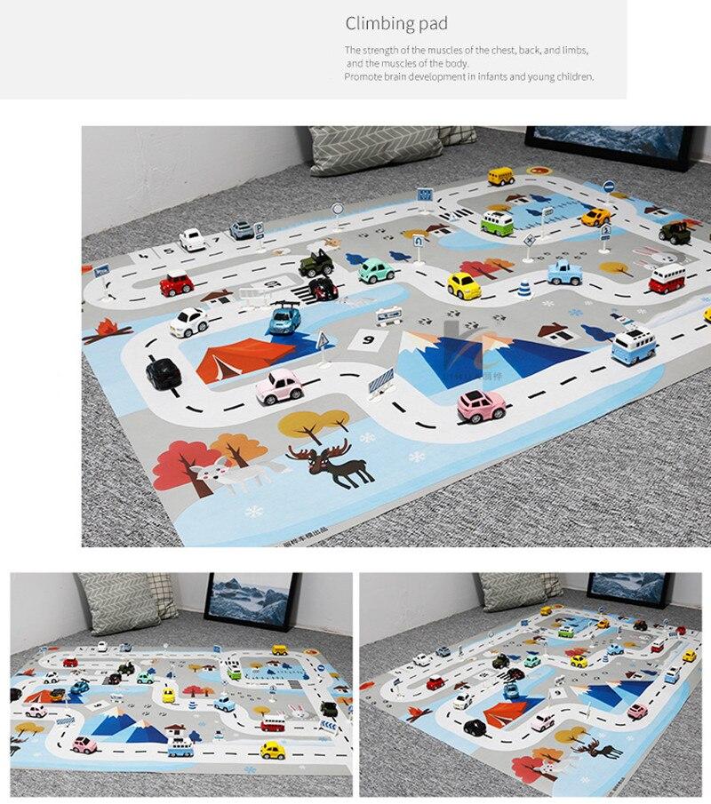H7cdd7540174a4cb19610f22ba9c8ffbeB 130*100CM Large City Traffic Car Park Play Mat Waterproof Non-woven Kids Car Playmat Toys for Children's Mat Boy Girl Education