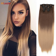 Alileader Clip In Hair Extensions Long Straight Synthetic Hairpiece Heat Resistant Hair Blond Straight 16 Clip In Hairpieces