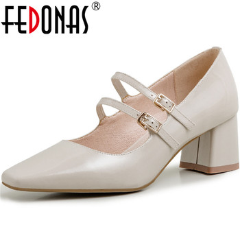 FEDONAS Square Toe Women Pumps Slip On Retro High Heels Pumps Spring Summer Pumps Cow Patent Leather Mary Jane New Shoes Woman