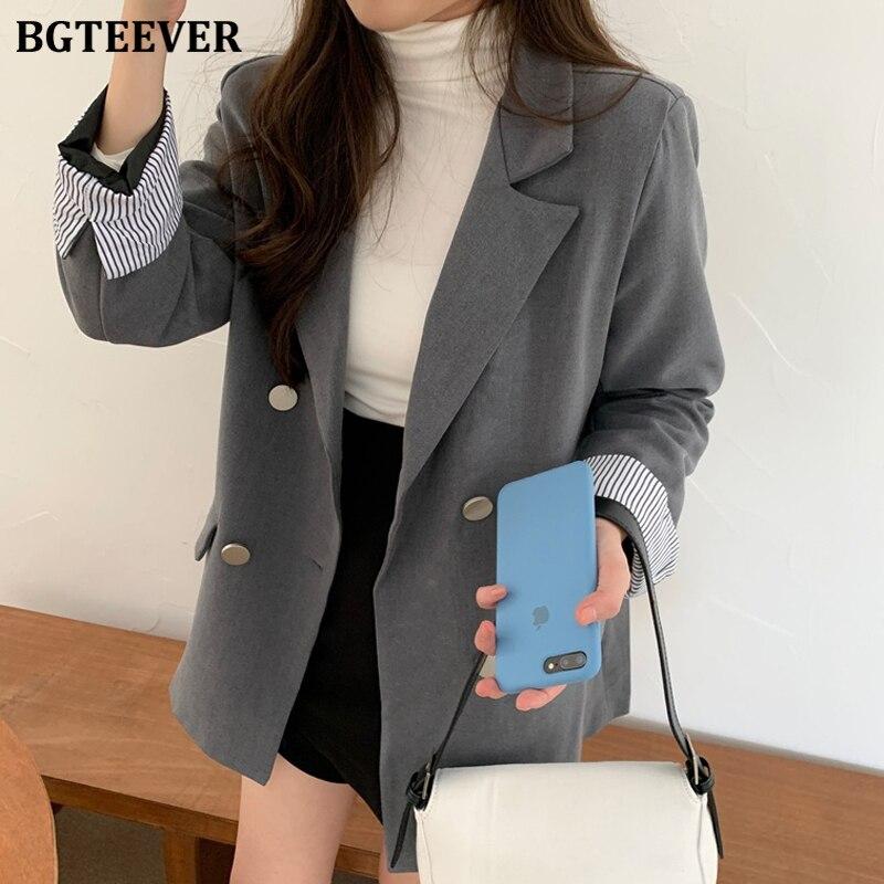 BGTEEVER Office Ladies Blazer Jackets Double-breasted Women Suit Jackets Loose Pockets Female Blazers 2020 Spring Blaser Femme