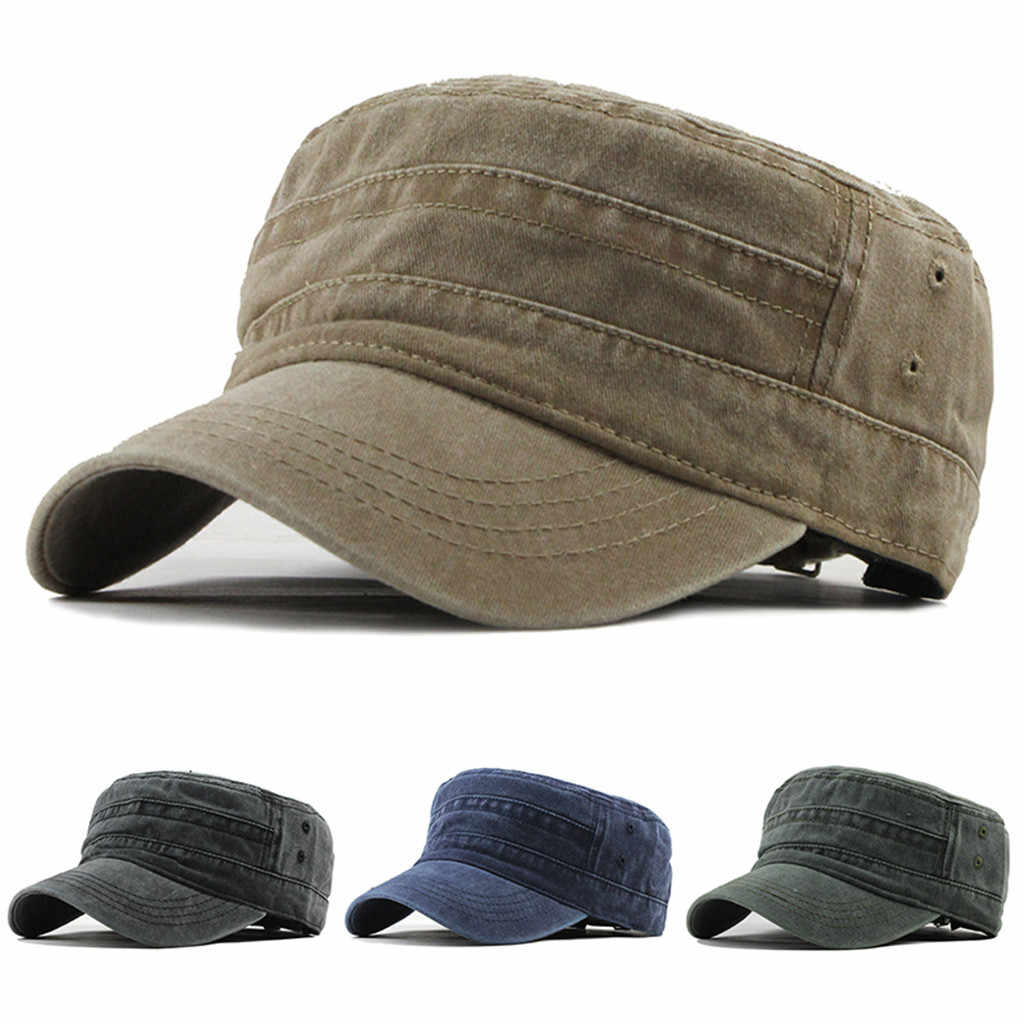 Baseball Cap Fashion Outdoor Unisex Casual Cotton Solid Denim Hat Visor Solid Flat Cap #YL5