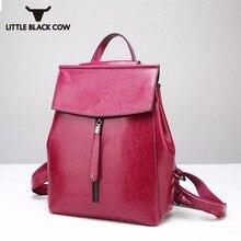 Moda alta calidad cuero partido suave ocio Mochila cómoda gran capacidad Vintage escuela bolsa con cierre bolsas de viaje