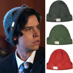 Hot New Movie Riverdale Hat Cosplay Costumes Props Jughead Jones Winter Warm Beanie Hat Crown Embroidered Dome Cap