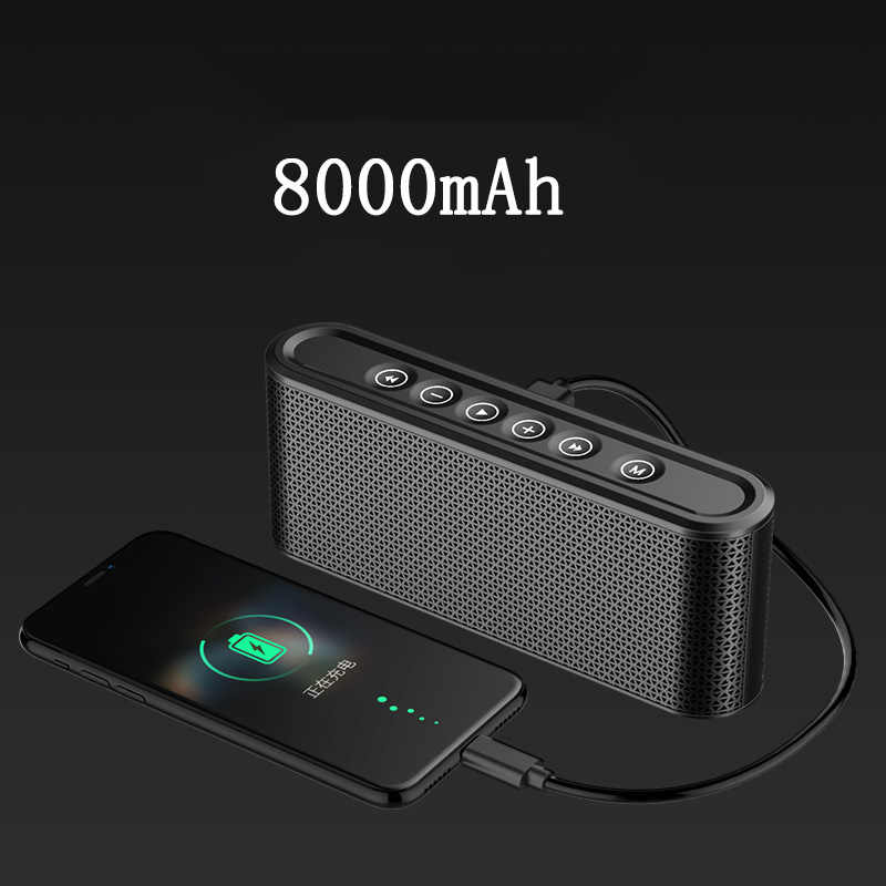Bluetooth Speaker dengan 8000 MAh Power Bank Bass Stereo Music Center Subwoofer Nirkabel 10W USB Radio MP3 Portable Mobil speaker