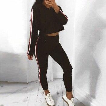 цена на Trend 2pcs Outfits Women Drawstring Sweatshirt And Striped Pants Casual Sport Suit Jogger Set Casual Conjuntos De Mujer Rm*
