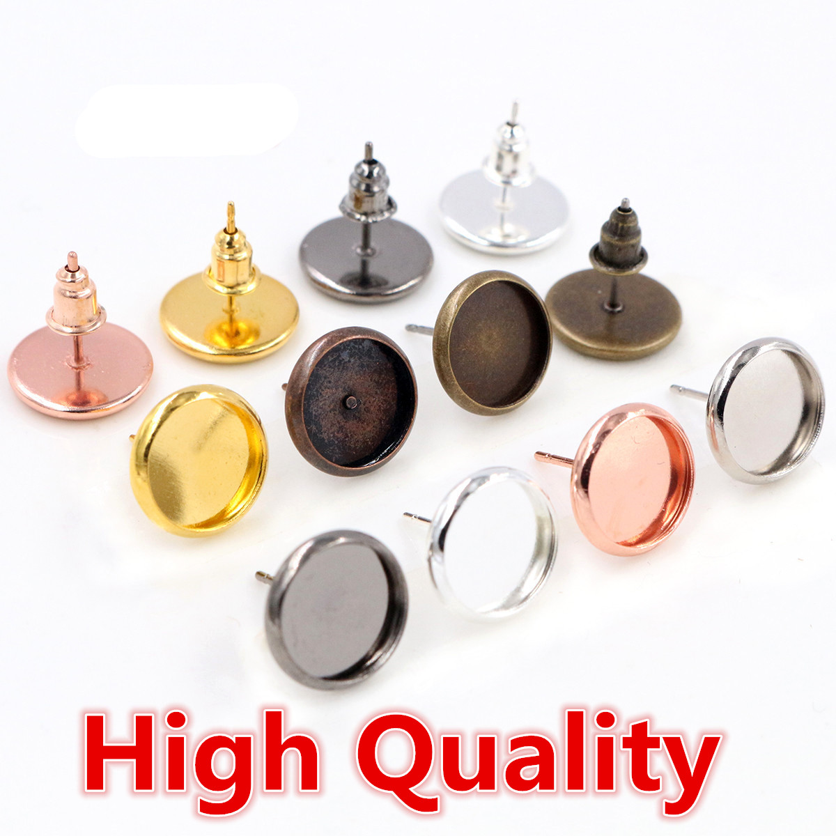 High Quality Copper Material 6mm 8mm 10mm 12mm 14mm Earring Studs,Earrings Blank/Base,Fit 6-14mm Cabochons,earring Setting