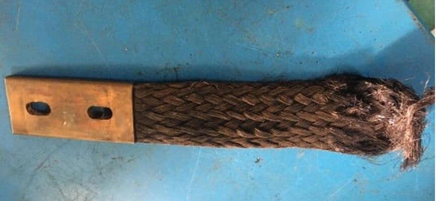 1 Uds 350*45*8mm trenzado de cobre puro personalizado con brida de conexión suave correa de conexión electrostática
