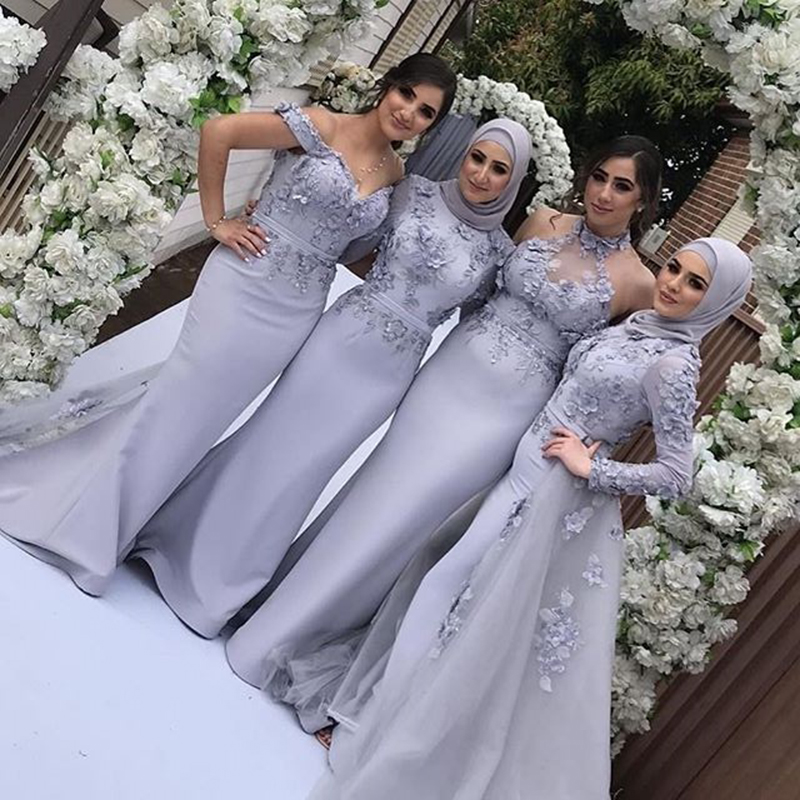 Arabic Long Sleeve Mermaid Muslim Bridesmaid Dresses With Hijab Detachable Skirt 3D Flower Long Wedding Guest Formal Party Gowns