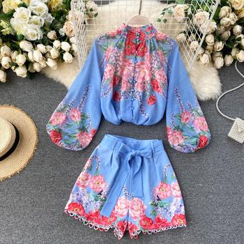 Fitaylor Spring New Women Vintage Long Puff Sleeve Single Breasted Floral Shirt Hollow Loose Wide Leg Short Two Piece Set 1