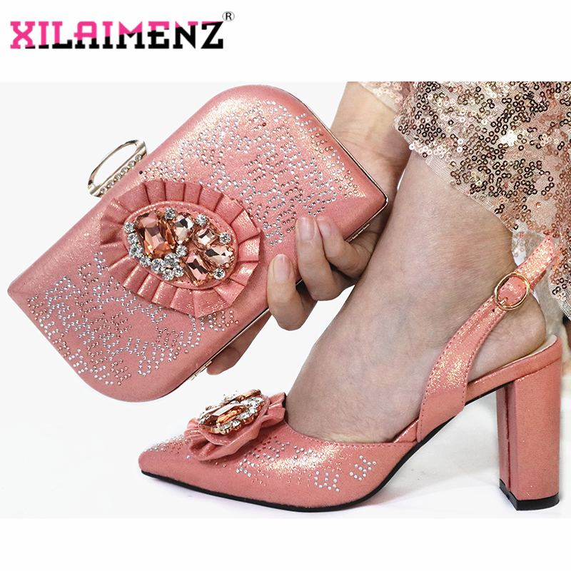Image 2 - Mature Special Design Onion Color Shoes And Bag To Match Set  Nigerian High Heels Party Shoes And Bag Set For Wedding DressWomens  Pumps