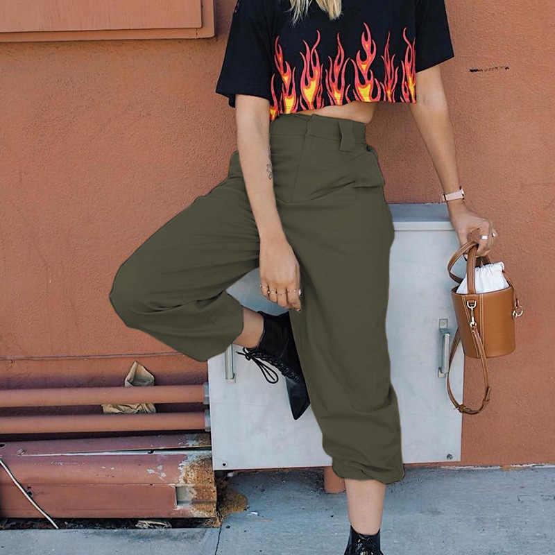 Hot Grote Zakken Cargo broek vrouwen Hoge Taille Losse Streetwear broek Baggy Tactische Broek hip hop hoge kwaliteit joggers broek