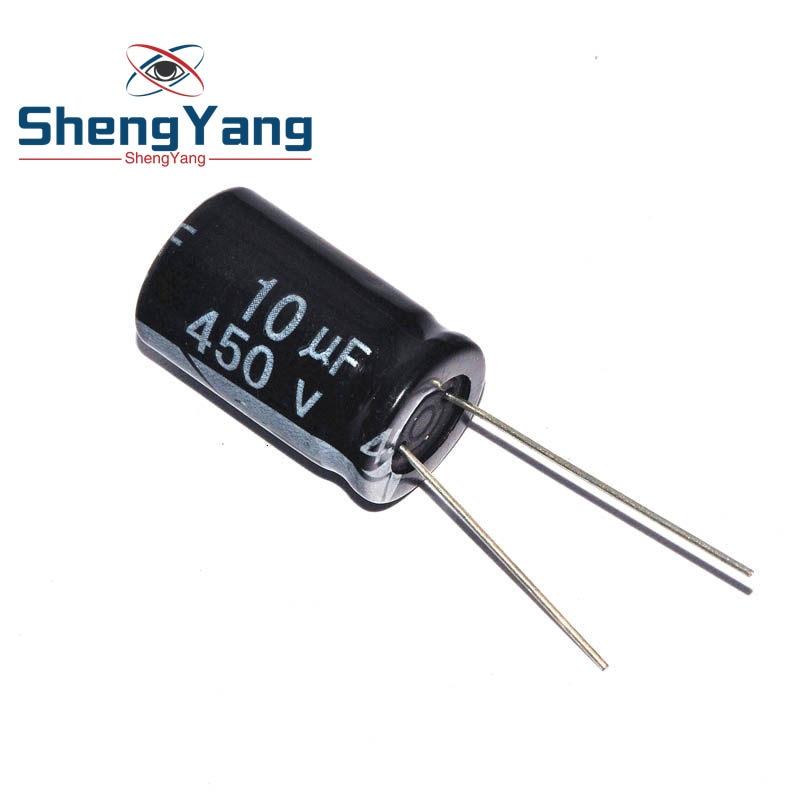 10 pièces condensateur électrolytique en aluminium 10 uF 450 V 10*17mm frekuensi tinggi électrolytique Radial kapasitor