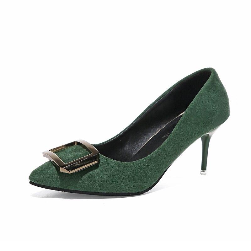 Mode cuir PU talons hauts femmes pompes bout pointu bouche peu profonde femme chaussures désherbage chaussures bureau carrière élégant pompes