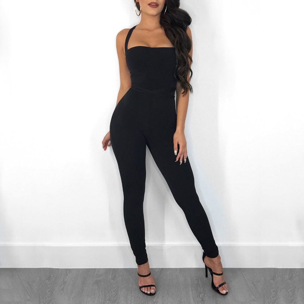 2019 Hot Women Strappy Jumpsuit Backless Slim Fit Lifting Hips Solid Color Rompers For Summer CGU 88