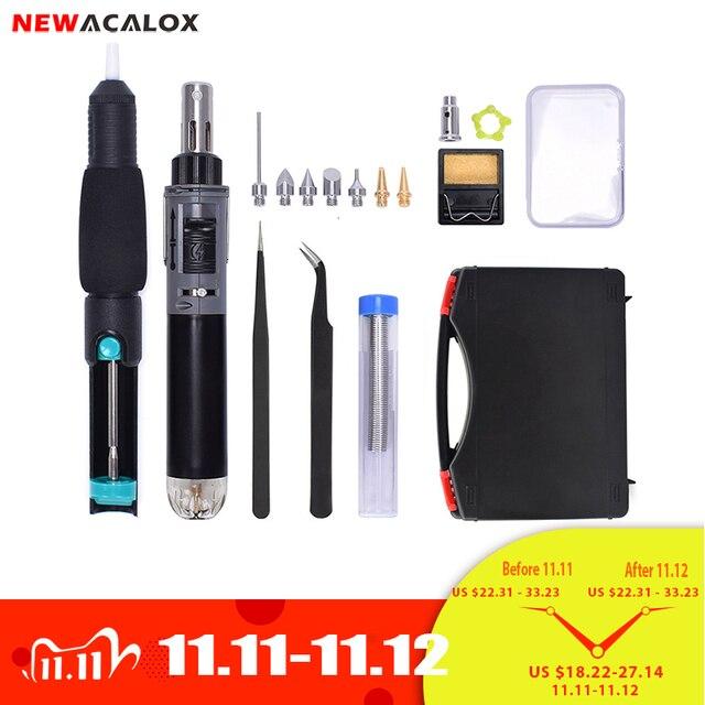 NEWACALOX Butane Gas Soldering Iron Kit Cordless Self Ignition Welding Gun Torch Welding Repair Soldering Pyrography Tool Set