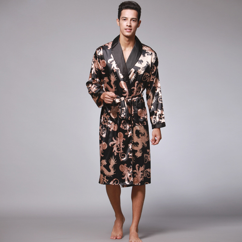 Men Silk Summer And Autumn Satin Kimono Bathrobe Golden Dragon Knee Length Long Sleeve Black Bath Robe Dressing Gown Sleepwear