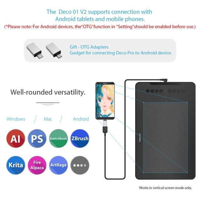 XP-Pen Deco 01 V2 10 ''Tavoletta Grafica Digitale Tablet per Android Finestre MAC 8 tasti di scelta rapida (8192 livelli di pressione) 3