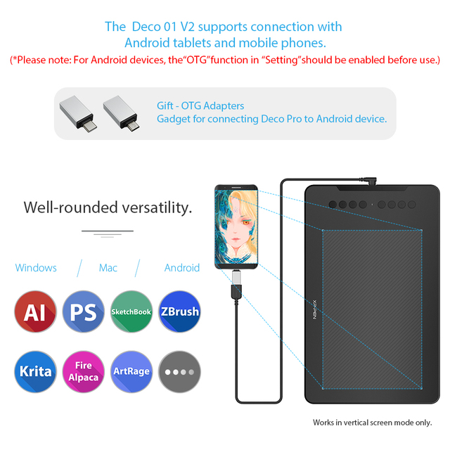 XP-Pen Deco 01 V2 10 Drawing Tablet Graphics Digital Tablet Tilt Android Windows MAC 8 Shortcut Keys (8192 Levels Pressure)