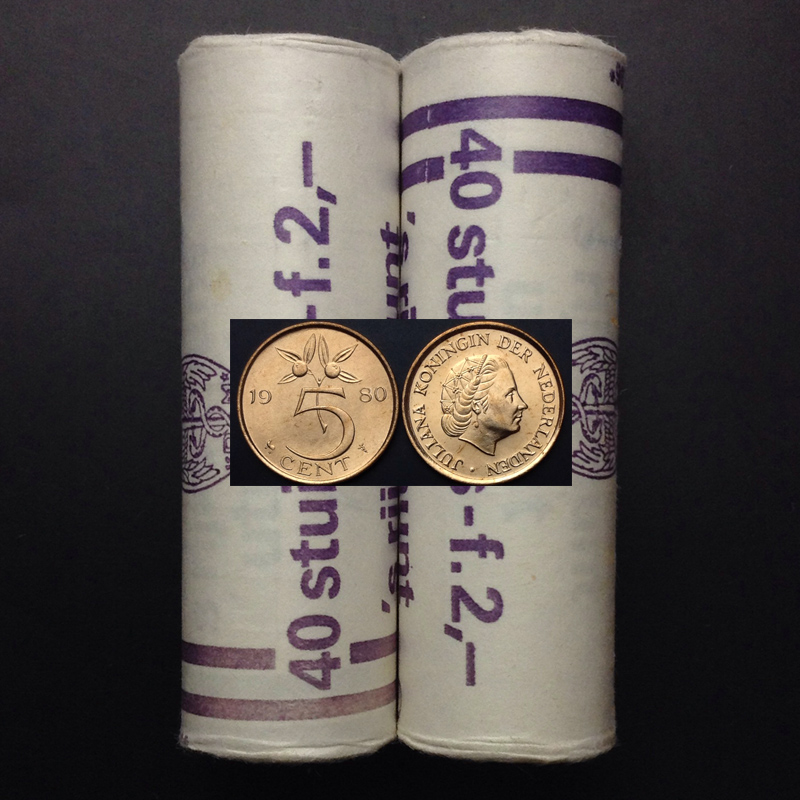 Netherlands 5 Points 1980 100% Real Original Coin Uncirculated Unc Collect Coins 1 Pcs