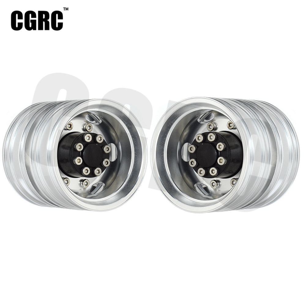 2PCS High Quality CNC Metal Alloy Front Rear Wheel Hub <font><b>Rim</b></font> For 1/<font><b>14</b></font> Tamiya RC Car Tow Drag Trailer Truck Man Scania image