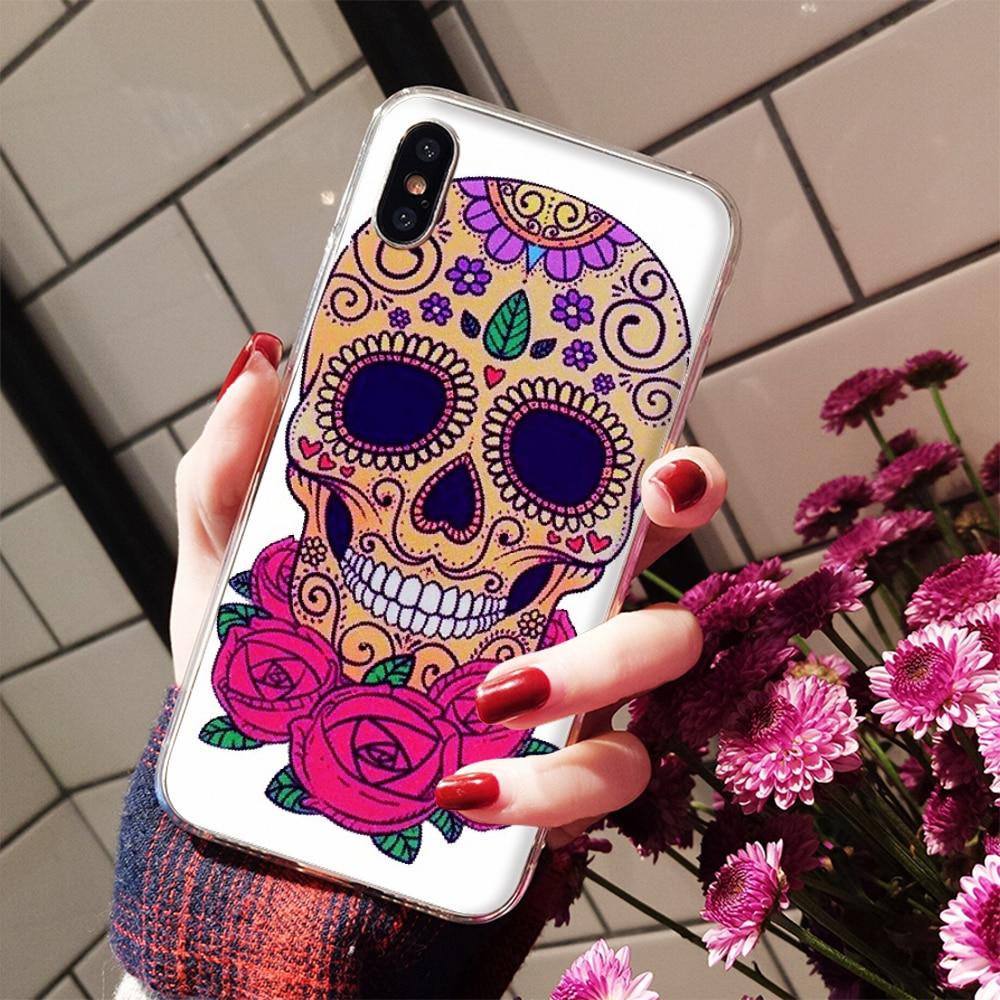 Nbdruicai Mexico Đầu Lâu Cô Gái Xăm Nghệ Thuật Ốp Lưng Điện Thoại Cho Iphone 11 Pro XS Max 8 7 6 6S plus X 5 5S SE XR Case