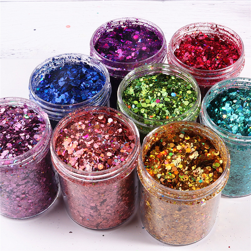 Mix 0.2-3mm Nail Mermaid Glitter Flakes Sparkly 3D Hexagon Laser Colorful Sequins Spangles Polish Manicure Nails Art Phone Decor
