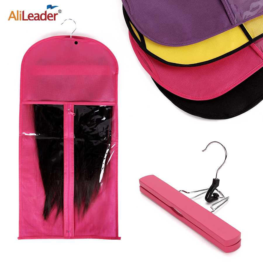 Alileader Pink Black Hair Bag With Wig Storage Holder For Hairpieces Non-woven Transparent  Wig Accessories Wigs Storage Bag