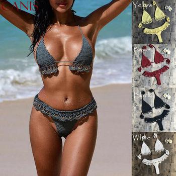 AU Women Handmade Knitted Bikini Set Crochet Tassel Swimsuit Swimwear Beachwear