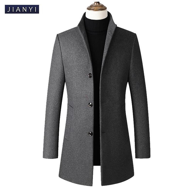 Men Wool Blends Coats Autumn Winter Solid Color High Quality grey Men's Wool Jacket Mid-length single-breasted stand-collar coat