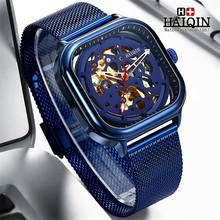 Get more info on the 2019New HAIQIN Blue Mesh Belt Fashion Mechanical Mens Watches Top Brand Luxury Waterproof Automatic Wristwatch Relogio Masculino