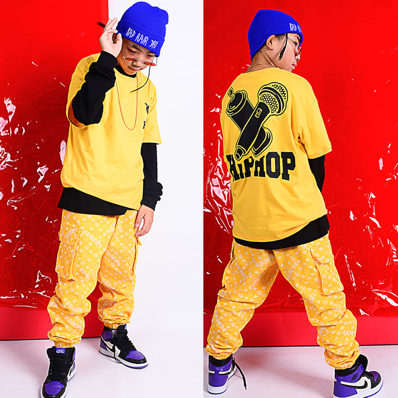 Boys Street Dance Tide Autumn Jazz Dance Costumes Children'S Hip-Hop Clothing Kids Practice Performance Stage Outfits DQS2966