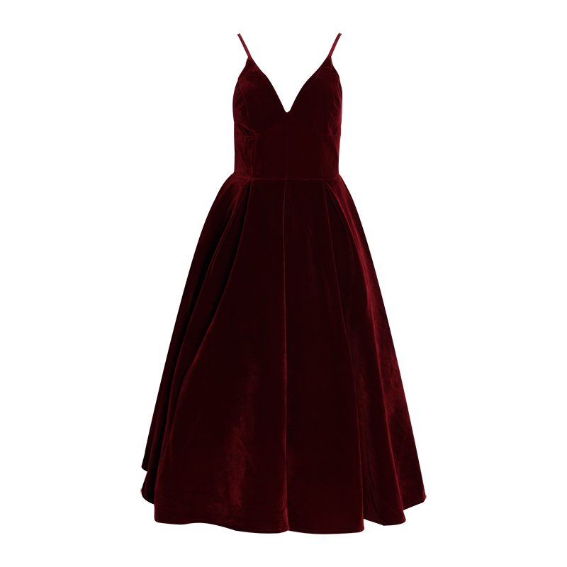TWOTWINSTYLE Summer Backless Dress For Women V Neck Spaghetti Strap Sleeveless High Waist Sexy Party Dresses Female 2020 Fashion 5