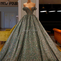Vestidos 2020 Green Glitter Puffy Prom Dresses Couture Dubai Evening Dress Robe De Soiree Kaftans Formal Party Gown Middle East