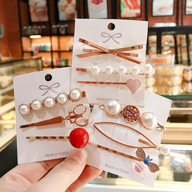 3pcs/set Pearl Metal Hair Clip Bobby Pin Barrette Hairpin Hair Accessories Beauty Styling Tools Hairpins Hairclip Women