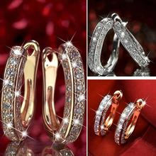 Fashion Round Crystal Studs Earrings Rhinestone Ear Clip Women Jewelry Business Office Ladies Circle Ear Buckle Dropshipping